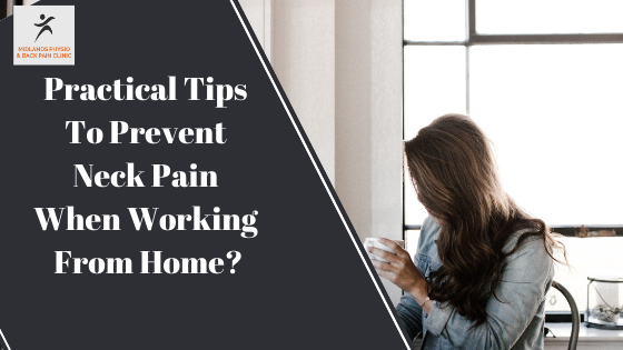 person preventing neck pain when working from home